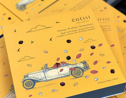 Entisi Chocolates: Packaging design + illustration