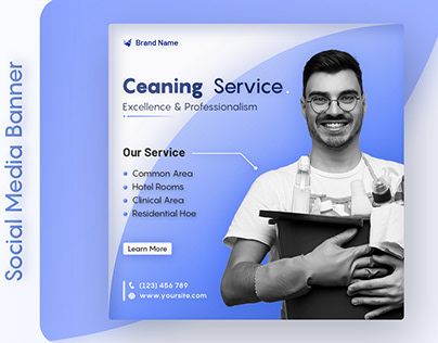 Cleaning service for social media banner PSD