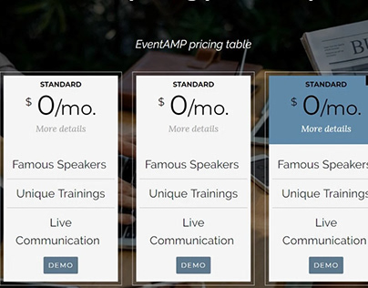 Mobirise pricing plan examples - EventAMP pricing table