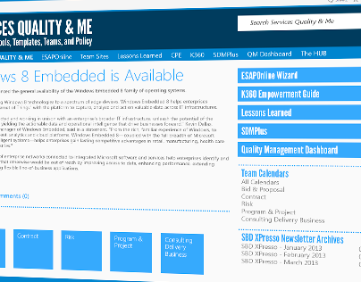 Services Quality & Me - Proposed 2013 Redesign