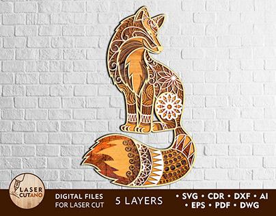 Multilayer Laser Cut File FOX mandala svg, cricut files