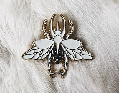 Beetle Full of Stars—Gold Enamel Pin Design