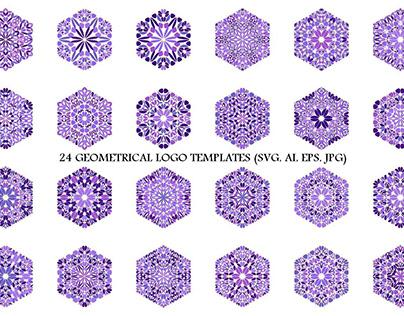 24 Purple Floral Hexagon Logo Designs