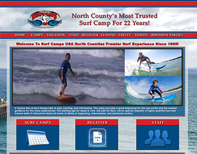 Website mockup for Surf Camps USA