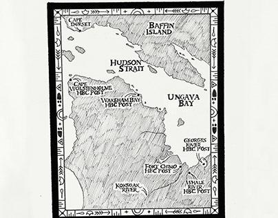 'Ungava Bay Map' - Illustration from 'Native Born Son'