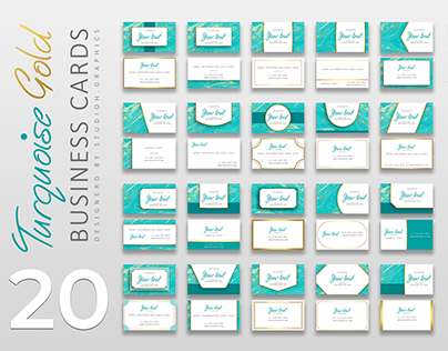 Turquoise Gold Business Cards