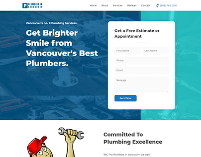 Single Page Web Design For Plumbing Business in Canada