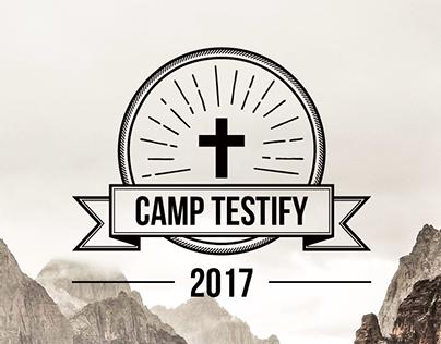 Layout Design: Camp Testify logo, poster & branding