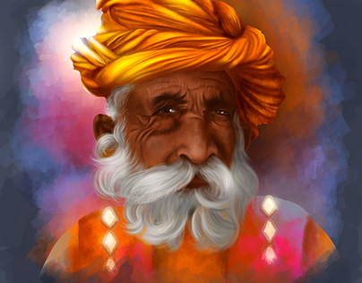 Photoshop portrait painting of Rajasthani Old man