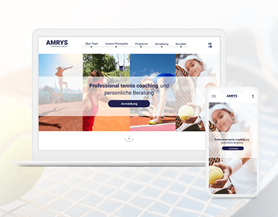 Landing page for tennis school