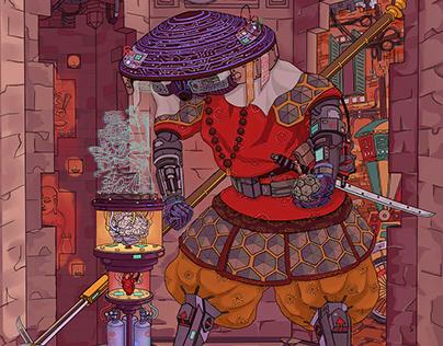 Asian cyberpunk samurai concept art