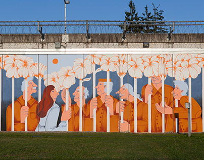 "A mural ""Visit"" in the prison in Glina, Croatia"