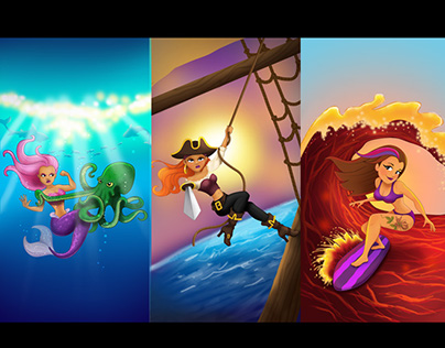Surfer, Pirate, and Mermaid