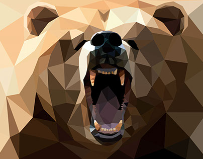 Low poly biting bear. Polygonal vector illustration