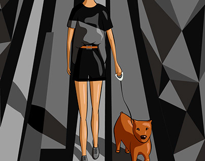 The girl with the dog