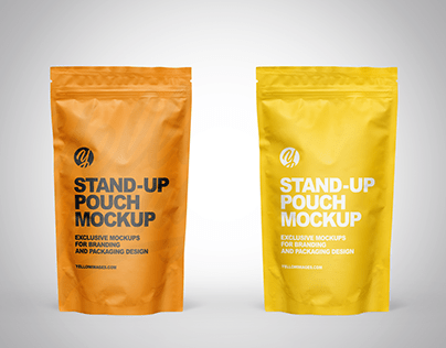 Matte Stand-up Pouch Mockup PSD