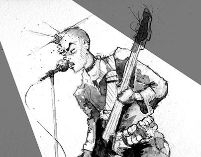 Punk Rocker in watercolor