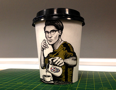 COFFEE CUP DRAWING - BRUCE LEE INSPIRED