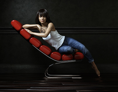 Girl on Red Chair