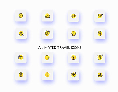 Animated travel icons Free Download