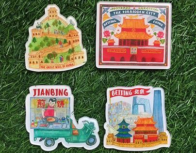 Beijing Magnets by Liuba Draws