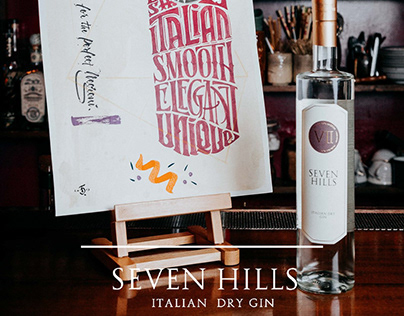 Inpirational art label - VII Hills Dry Gin