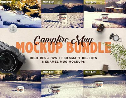 Enamel Mug Mockup Bundle / Tin Mug Mockup / Campfire