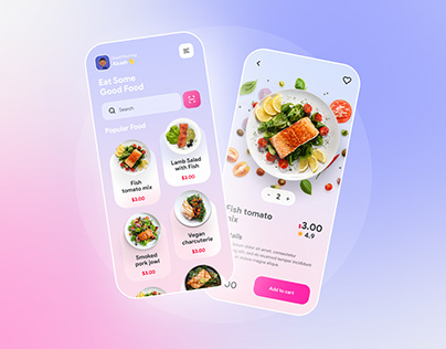 Food Delivery App Design glass morphism Free download