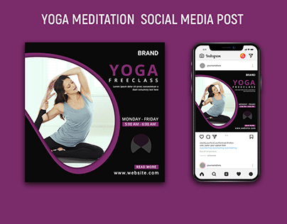 Yoga meditation social media post