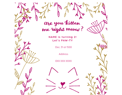 Kitten Floral Birthday Invite