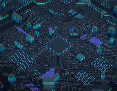 Neon Circuit Board