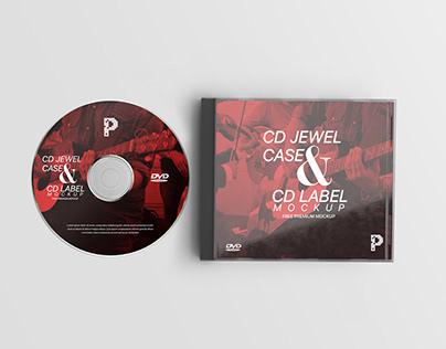Free CD Jewel Case & CD Label Mockup