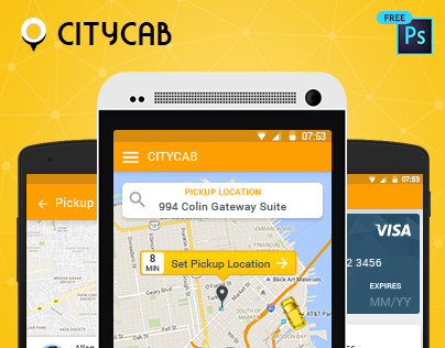 Download Free UI PSD for Uber like Taxi Mobile App