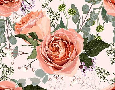 Floral seamless pattern with creamy roses flowers.