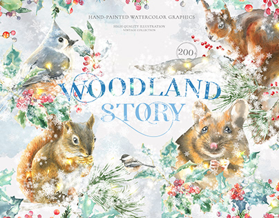 Christmas Watercolor Woodland Story Vintage Animals