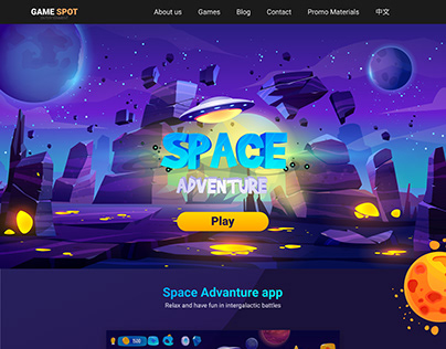 Landing page for game
