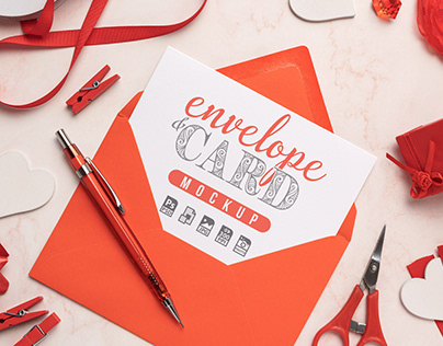 Red Envelope with White Card Mockup