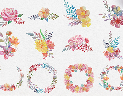 Beautiful Watercolor Flower Collections