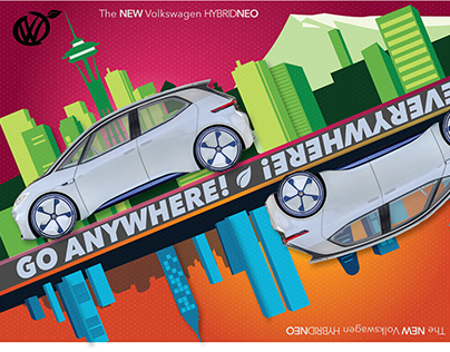 Electric and Hybrid vehicle poster showing motion