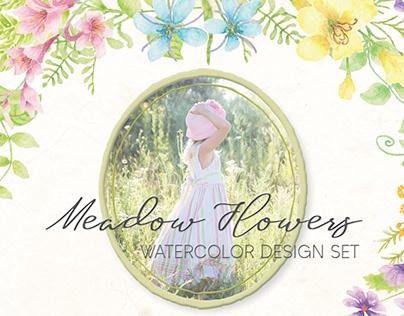 Meadow Flowers: watercolor design set