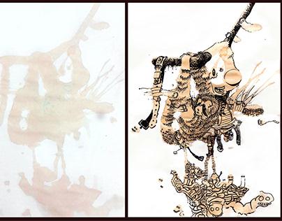Dibujo en base a manchas de café - 2012