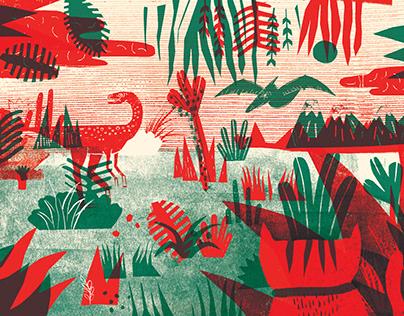 Ilustración - Serie de dinos