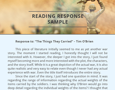 """""""The things they carried"""" Reading Response Sample"""