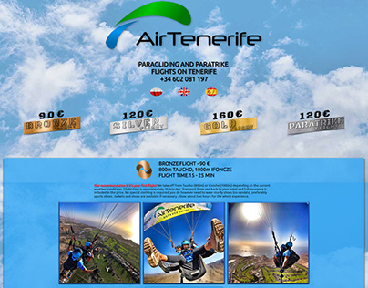 Website for paragliding company
