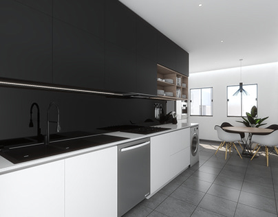 white and black / kitchen and bathroom