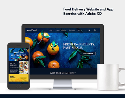 Food Delivery Website and App Exercise with Adobe XD
