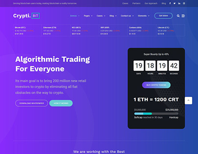 Best Cryptocurrency, ICO Landing Page WordPress Theme