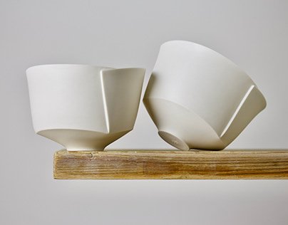 FOLDED BOWL IN WHITE PAPERPORCELAIN