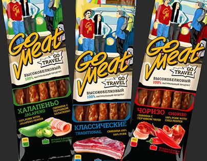 Go Meat - дизайн упаковки для мясных снеков.