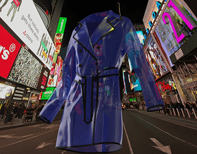 Our blue raincoat in NYC